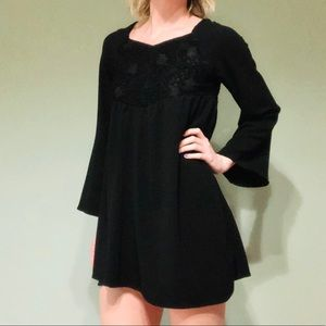 Altar'd State Black Lace Bell Sleeve Mini Dress M